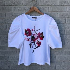 NEW Zara Floral Puff Sleeve T-Shirt NWT